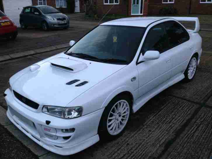 subaru 1999 impreza turbo 2000 awd white car for sale. Black Bedroom Furniture Sets. Home Design Ideas