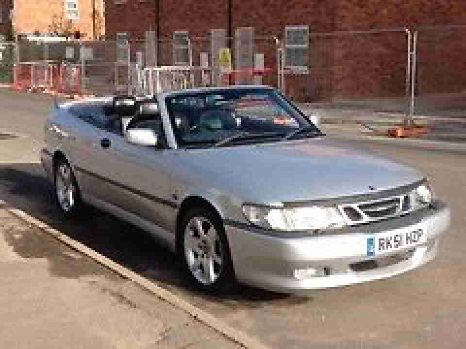 saab 2001 9 3 aero hot silver convertible no reserve car for sale. Black Bedroom Furniture Sets. Home Design Ideas