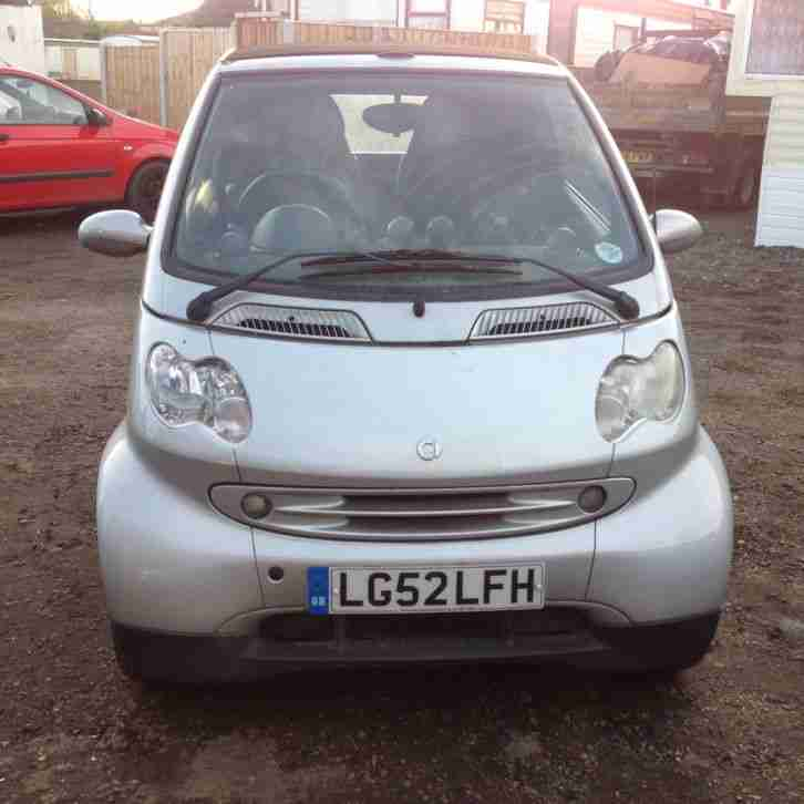 2002 Smart Car Fortwo 600cc Automatic Convertible in Silver. Only £30 a Year Tax