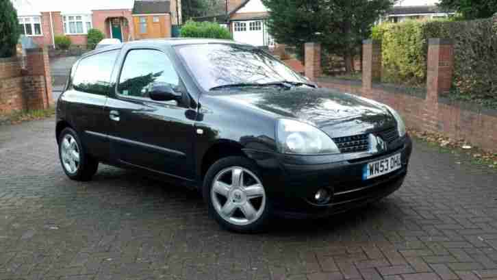 renault 2003 53 clio 1 2 dynamique sport 3dr black no reserve auction. Black Bedroom Furniture Sets. Home Design Ideas
