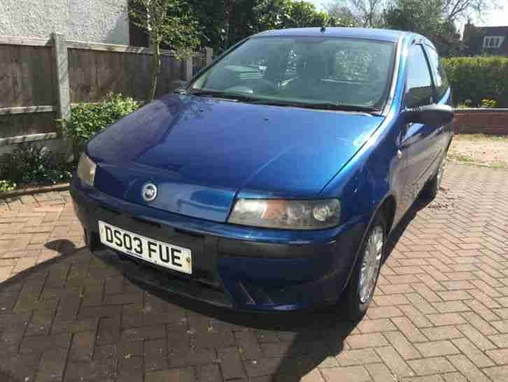 Fiat Punto MK2 1 2 Ltd Edition Car Blue Spares or Repairs MOT till Oct 15