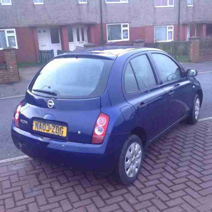 nissan 2003 micra e blue long test low milage 1ltr engine cheap car for sale. Black Bedroom Furniture Sets. Home Design Ideas