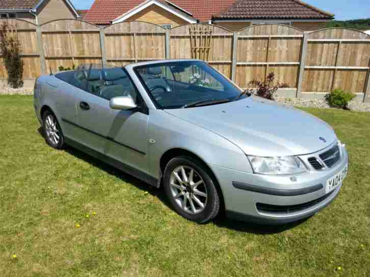 saab 2004 9 3 convertible 2 0t linear 150 bhp silver car for sale. Black Bedroom Furniture Sets. Home Design Ideas
