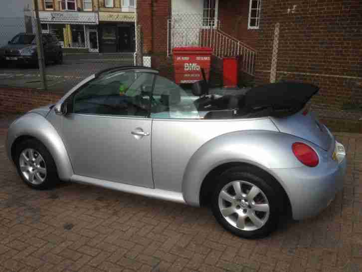 2005 39 05 39 vw beetle 1 6 convertible silver with black leather car for sale. Black Bedroom Furniture Sets. Home Design Ideas