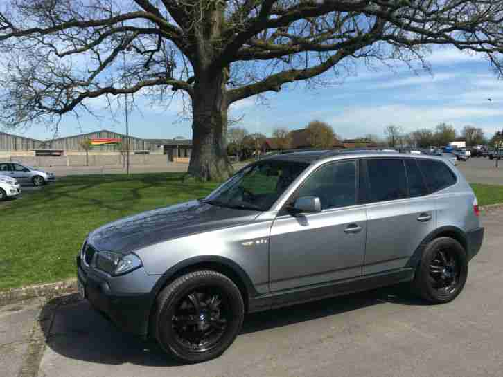 "2005 BMW X3 D SPORT silver 200bhp full black leather 20"" runflats bluetooth etc"