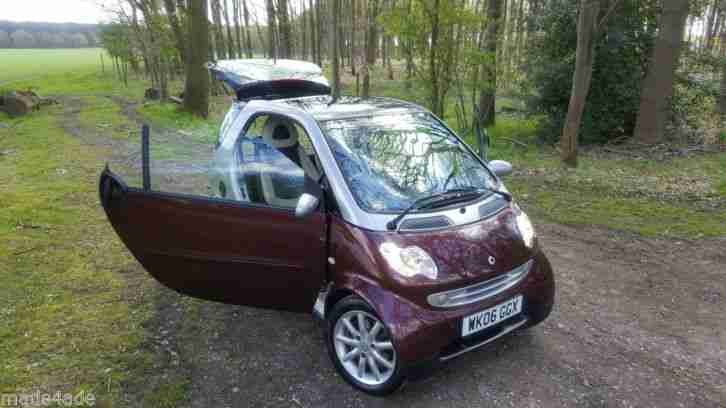 2006 SMART FORTWO 'RARE' GRANDSTYLE AUTO SILVER & MAROON FSH, CREAM LEATHER