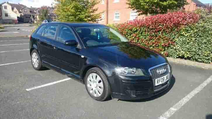 2008 AUDI A3 TDI E, BLACK, 6 MONTHS WARRANTY, ONE PREVIOUS OWNER, £30 ROAD TAX
