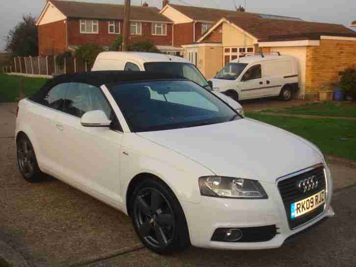 Audi 2009 A3 S LINE TFSI 158 WHITE CONVERTIBLE 46000 MILES FSH. car for sale