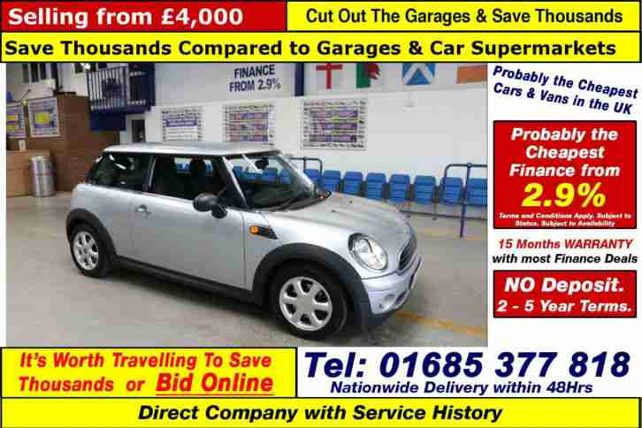 2010 10 MINI ONE 1.6 PETROL 3 DOOR HATCHBACK (GUIDE PRICE)