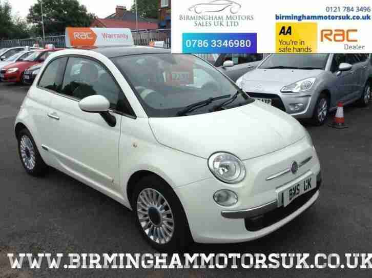 2010 (60 Reg) Fiat 500 1.2 LOUNGE 3DR Hatchback WHITE + LOW MILES