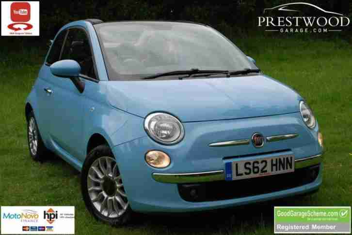 2012 62 FIAT 500C 1.2 LOUNGE [69 BHP] CONVERTIBLE [START STOP] SKY BLUE