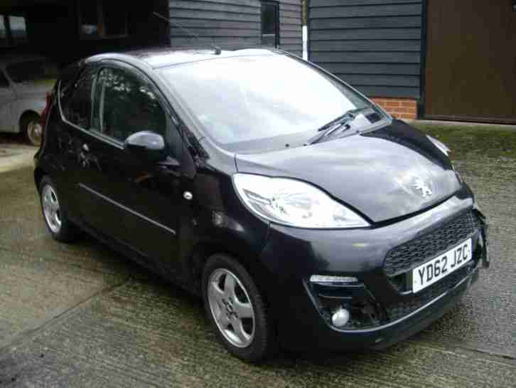 2012 62 PEUGEOT 107 ALLURE 1 OWNER BLACK ALLOY WHEELS