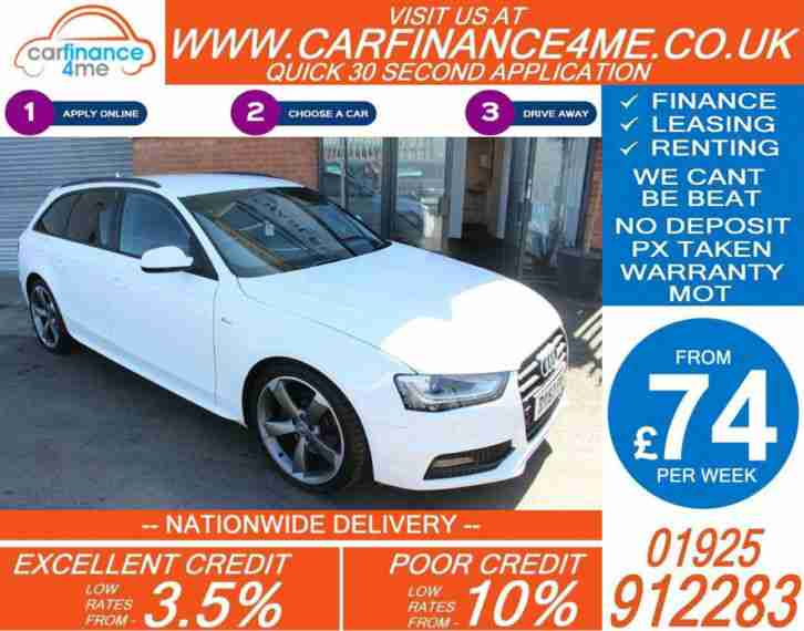 2012 AUDI A4 AVANT 2.0 TDI S-LINE BLK EDT GOOD BAD CREDIT CAR FINANCE FROM 74 PW