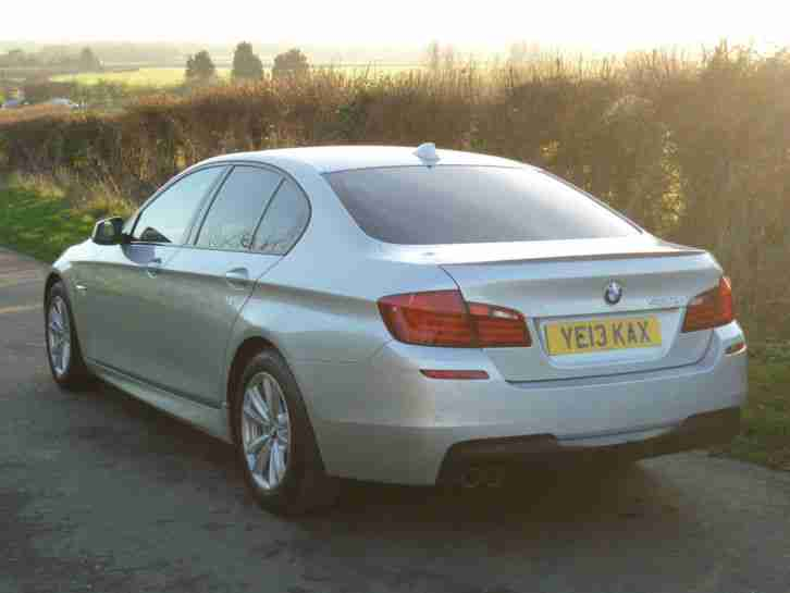 2013 BMW 520D M SPORT AUTO SILVER WITH LEATHER, SAT NAV, F/BMW/S/H