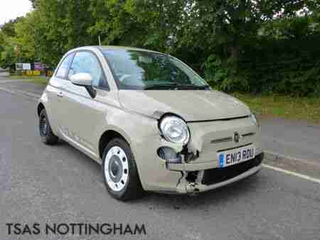 fiat 2013 500 colour therapy 1 2 69bhp beige damaged salvage car for sale. Black Bedroom Furniture Sets. Home Design Ideas