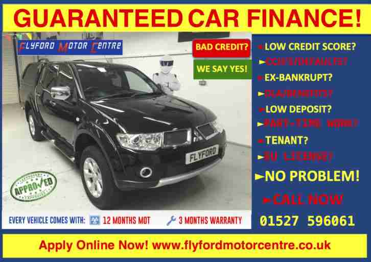 2013 MITSUBISHI L200 BARBAR N LB DCB DI D BLACK GUARANTEED CAR FINANCE CREDIT