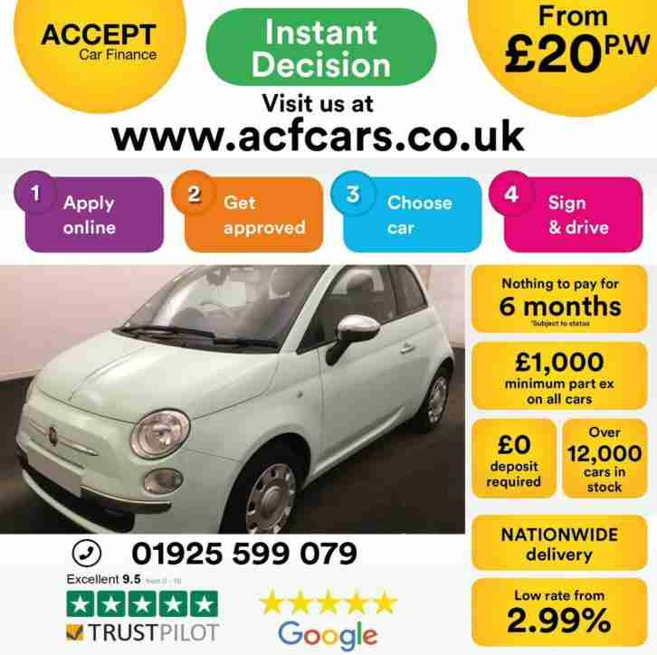 2014 GREEN FIAT 500 1.2 POP PETROL MANUAL 3DR HATCH CAR FINANCE FR £20 PW