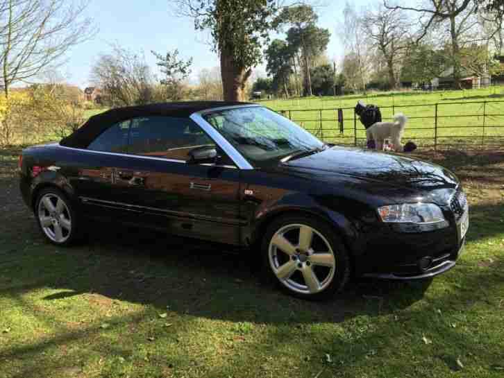 Audi A4 CONVERTIBLE S LINE TDI BLACK 07 LOW MILEAGE. car for sale