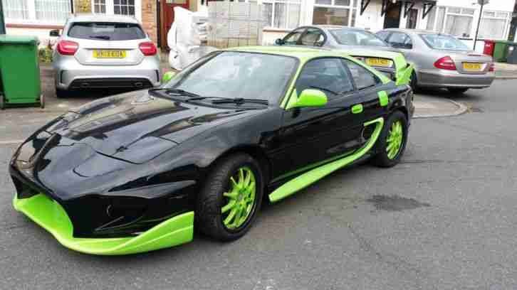 Black Green Toyota Mr2 Japanese Import Sports Car With Body Kit Monster Energy