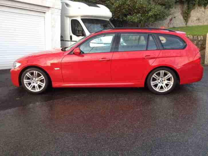 bmw 320d m sport touring 2007 red 61 000 miles high spec car for sale. Black Bedroom Furniture Sets. Home Design Ideas