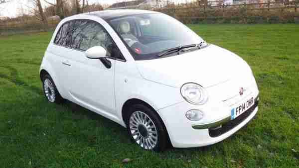 fiat 500 lounge twin air 2014 14 white 875cc turbo car. Black Bedroom Furniture Sets. Home Design Ideas