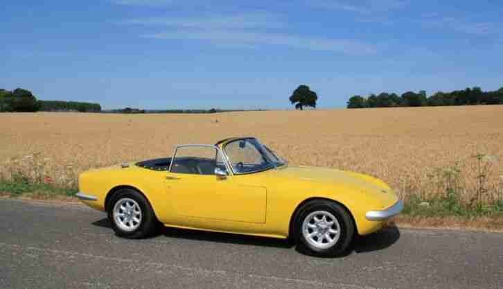 Lotus Elan S3 DHC, 1967.   Lotus Yellow with 26R Shape Wheel Arches.