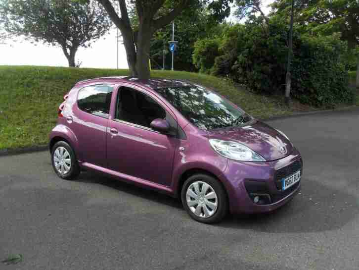 Peugeot 107 Active, 62 reg 2012 1.0cc Petrol Manual 5 Door Hatchback Purple PAS