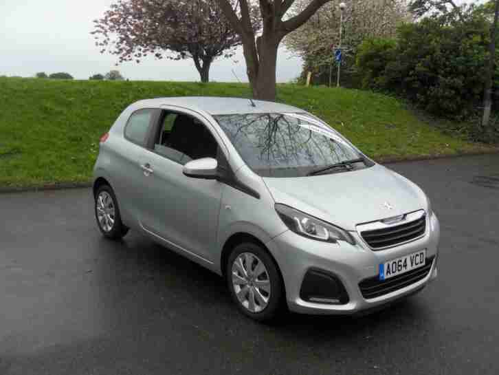 Peugeot 108 Active, 64 reg 2014, Silver, 3 door hatchback, 1.0cc Petrol, Manual