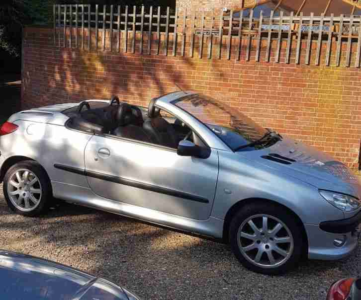 Peugeot 206cc met silver, lovely car with blàck leather interior