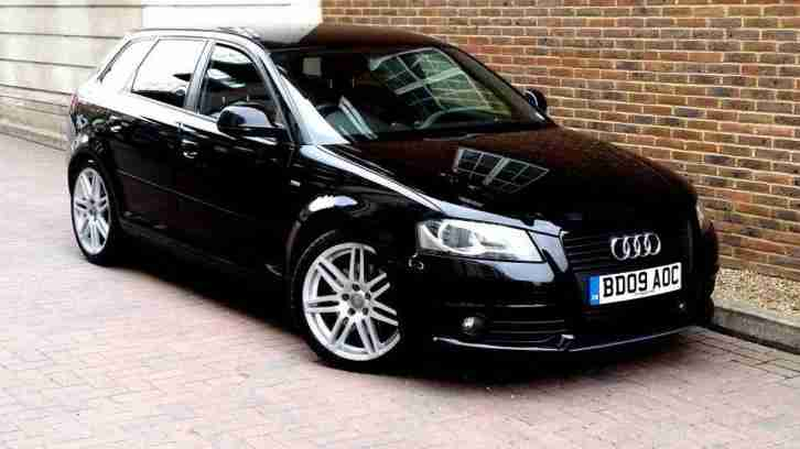 SUPERB BLACK AUDI A3 2.0 TFSI S LINE SPORTBACK AUTOMATIC 5 DOOR 200 BHP ALLOYS