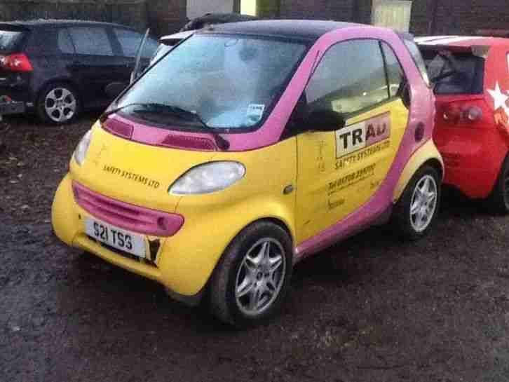 Smart Car 600cc Lhd Spares Or Repair Pink Yellow Private Reg Tss
